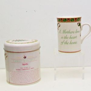 SPODE Christmas Tree Sentiment Mug + Tin